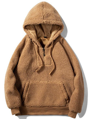 Men's lambskin sweater fashion solid color pullover hooded sweater