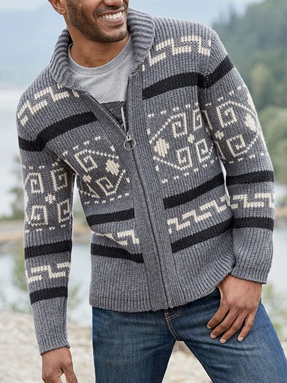<transcy>Geometrischer Standard Casual Fall Sweater</transcy>