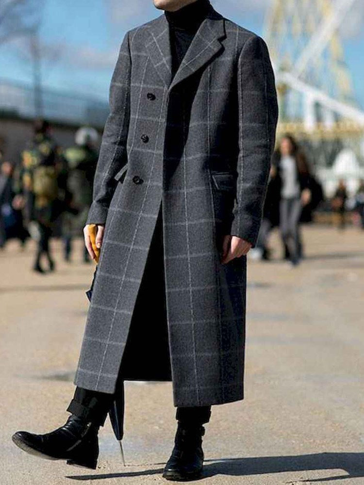 Plaid Notched Lapel Long Fashion Winter Coat