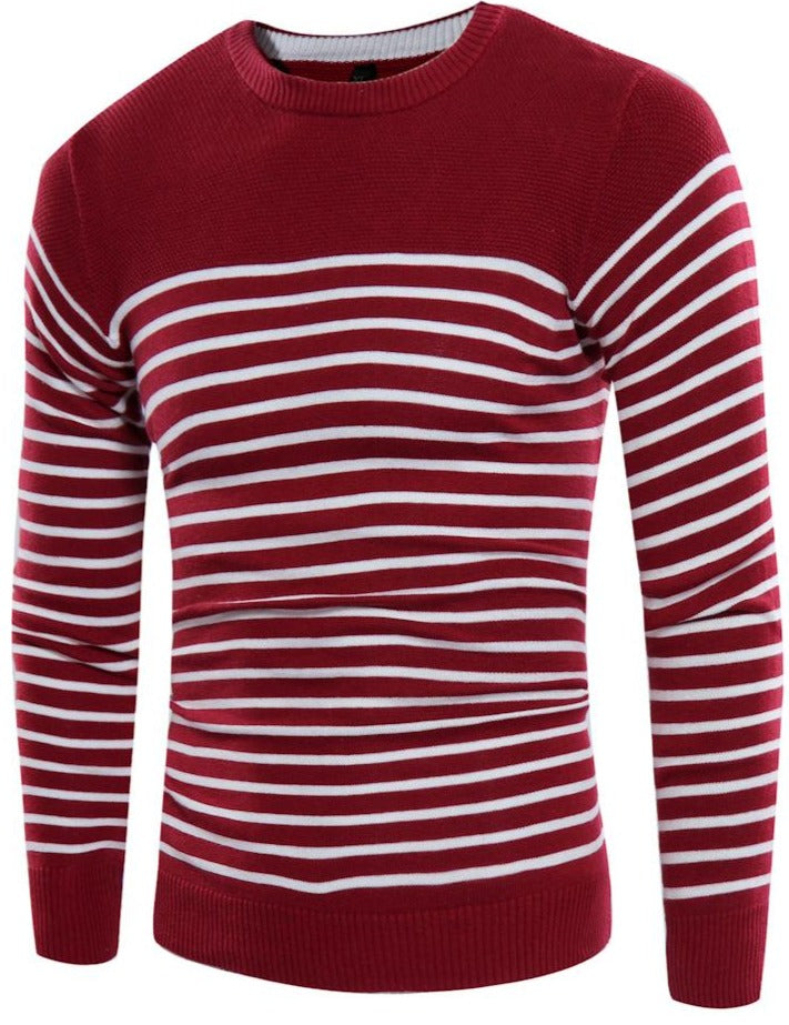 Men's V-neck T-shirt slim stitching striped sweater