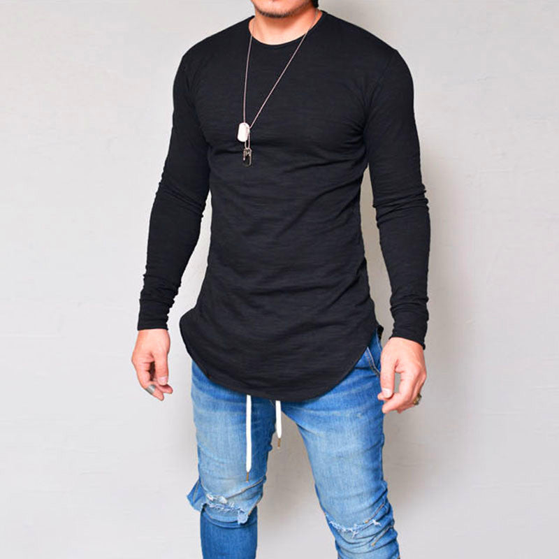 Long sleeve solid color round neck slim men's T-shirt top