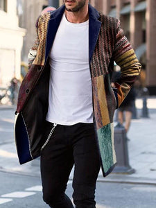 Color Block Mid-Length Pocket Casual Coat