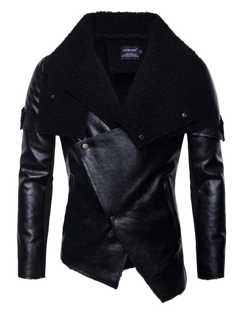 Men's motorcycle leather jacket with irregular personality punk jacket