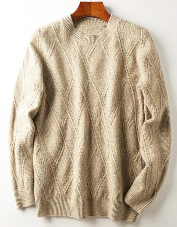 Men's warm herringbone jacquard casual crew neck sweater