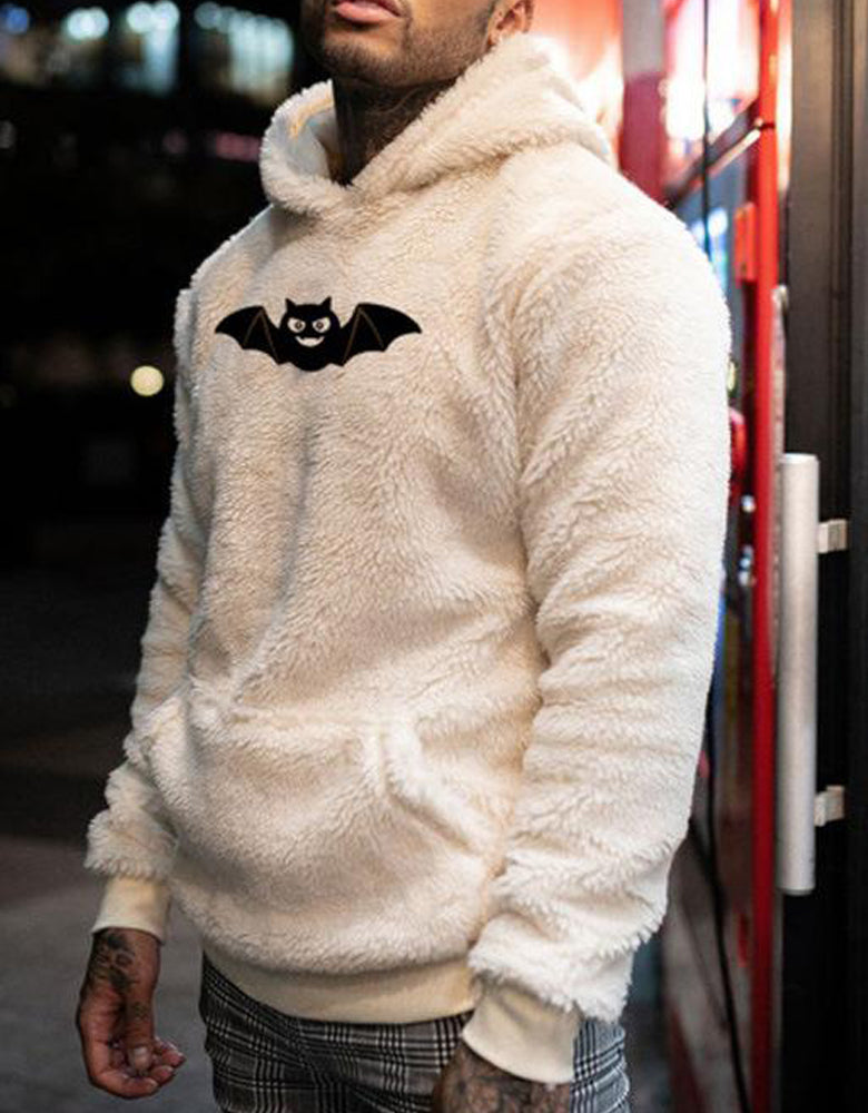 Halloween carnival men's sweater bat print plush hooded sweater