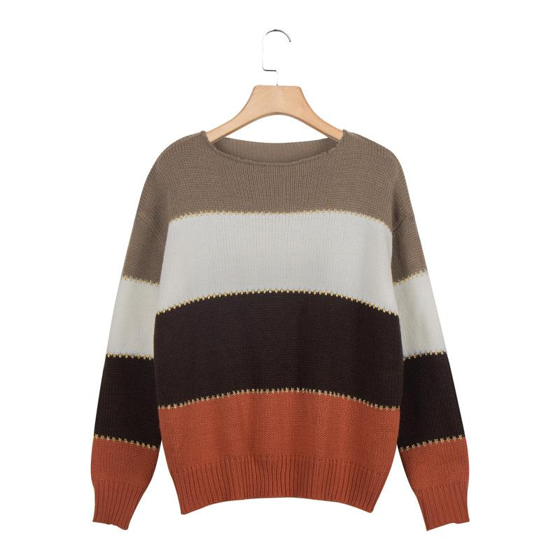 Color Block Long Sleeved Casual Sweaters