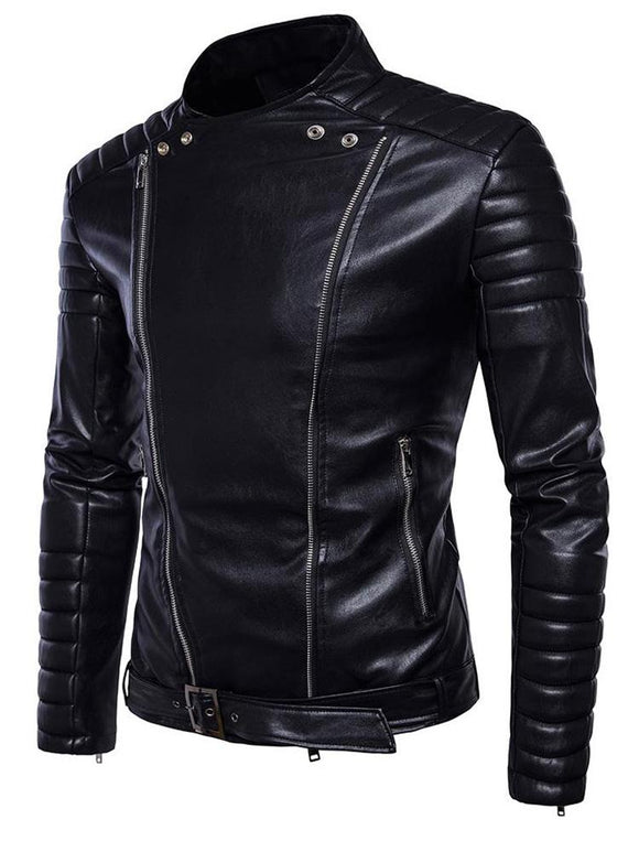 Men's motorcycle stand collar leather jacket