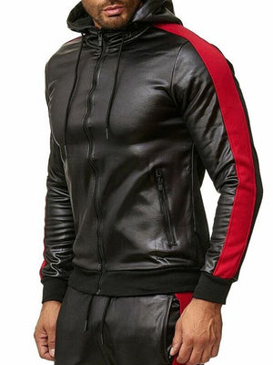 Hooded Standard Color Block Fall Zipper Leather Jacket