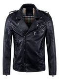 Men's retro asymmetric zipper lightweight faux leather biker jacket