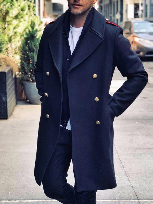 Plain Pocket Lapel Straight Fall Coat