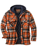 Men's thick casual long-sleeved plaid flannel fur lining button warm shirt jacket