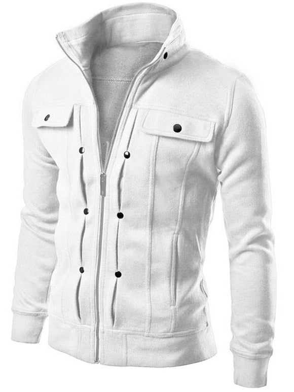 Lapel Plain Zipper Slim Casual Jacket