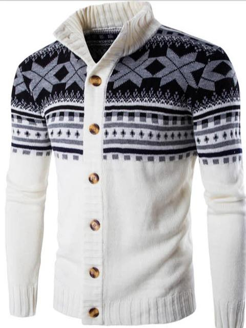 Men's national style stand collar knitted cardigan sweater