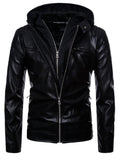 Men's hooded motorcycle leather jacket motorcycle leather jacket