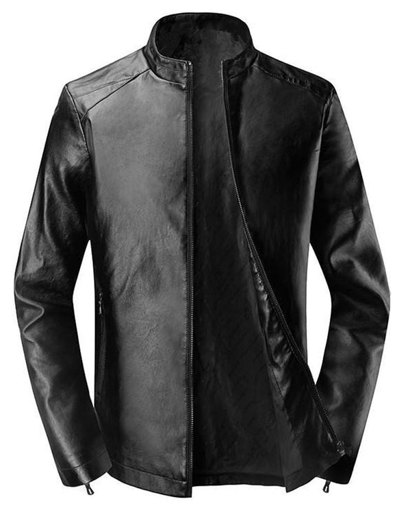 Men's solid color motorcycle pu short leather jacket
