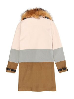 Patchwork Color Block Long Winter Double-Breasted Coat