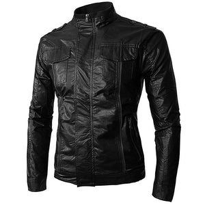 Men's stand-up collar motorcycle leather jacket
