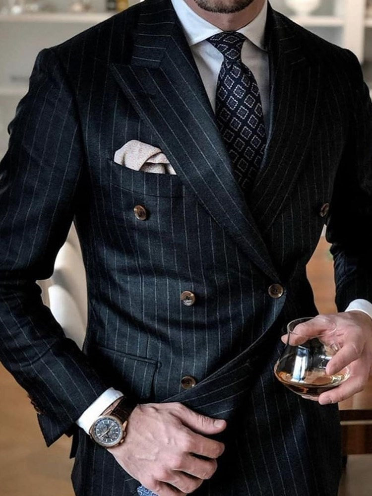 Formal Double-Breasted Button Blazer