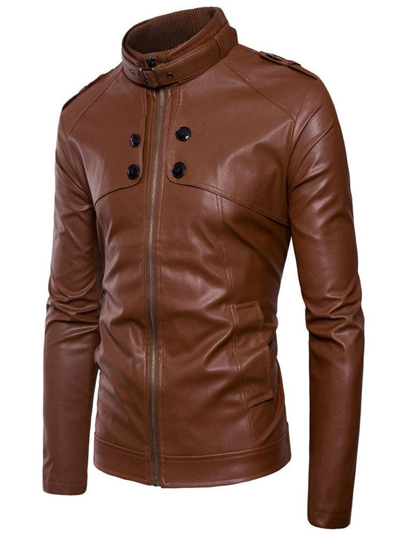 Men's motorcycle leather jacket European American standing collar button washed leather coat