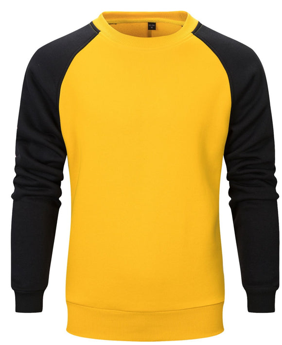 Men's Round Neck Color Block Sweater Loose Hip Hop Long Sleeve T-Shirt