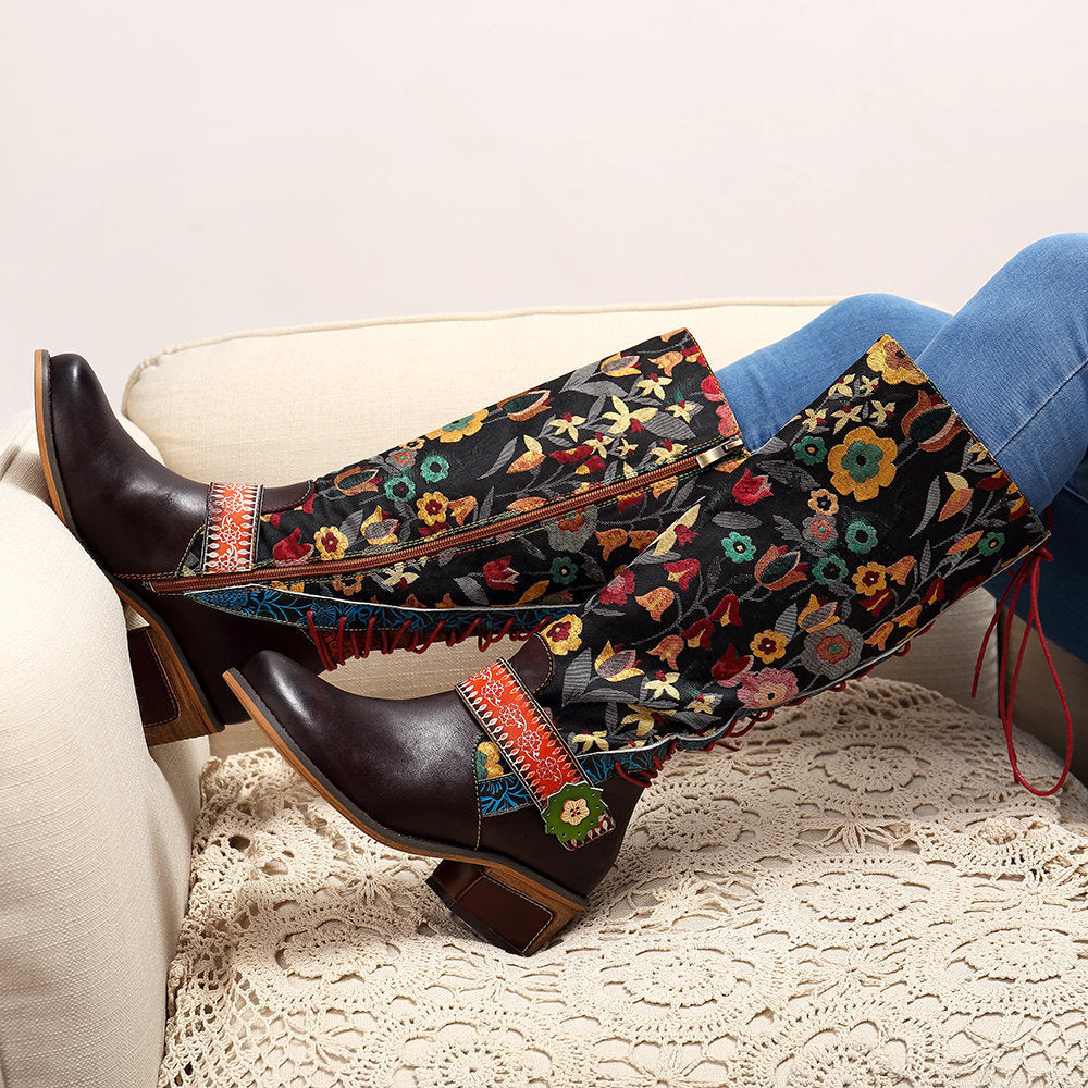 Retro floral national style leather long tube women's boots knee length adjustable women's Boots
