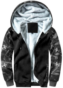 Men's hooded camouflage matching heavy coat and sweater