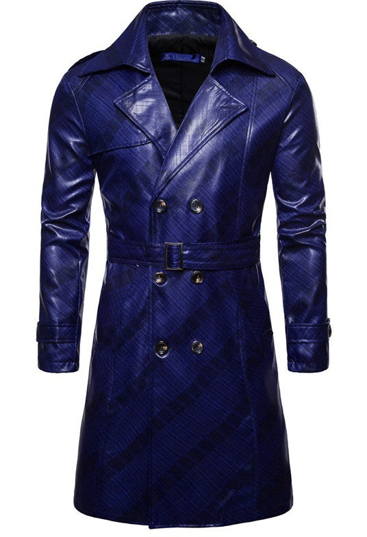 Men's leather double-breasted personality mid-length coat