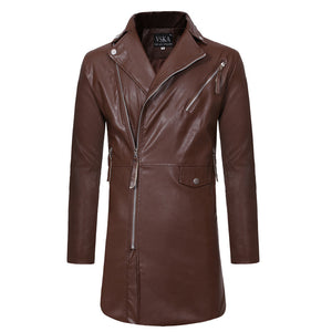 Men's slim mid-length leather trench coat