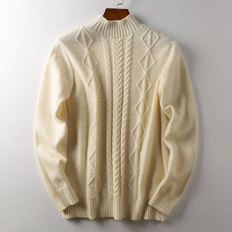 Men's twist knitted warm half high collar Pullover
