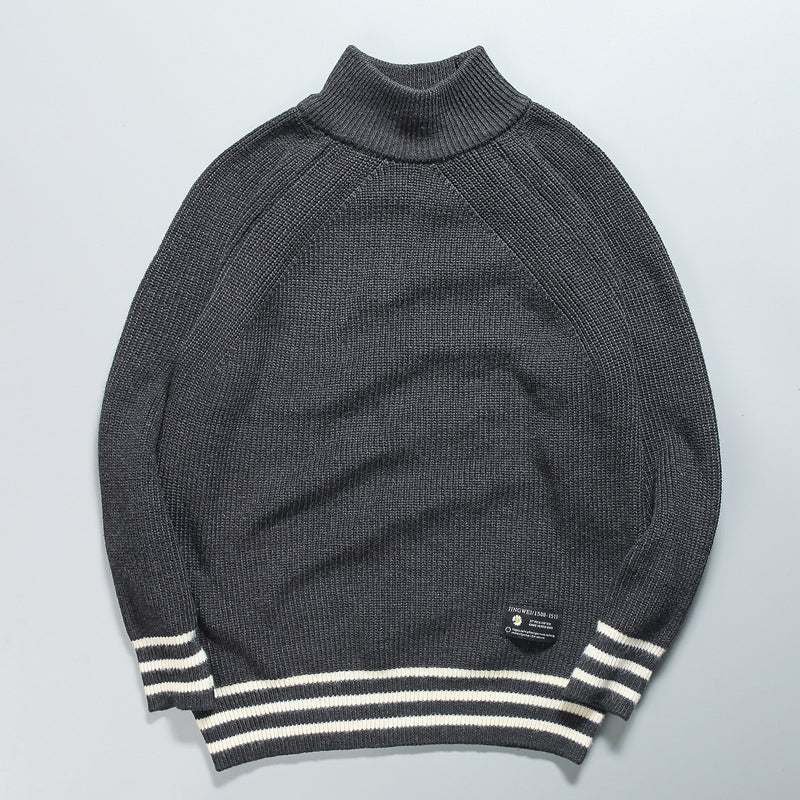 Men's stripe contrast loose casual half high collar Pullover knitting