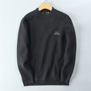 Men's solid color thick Plush warm half high collar casual = sweater