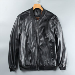 Men's PU washed leather Plush warm casual baseball collar leather jacket