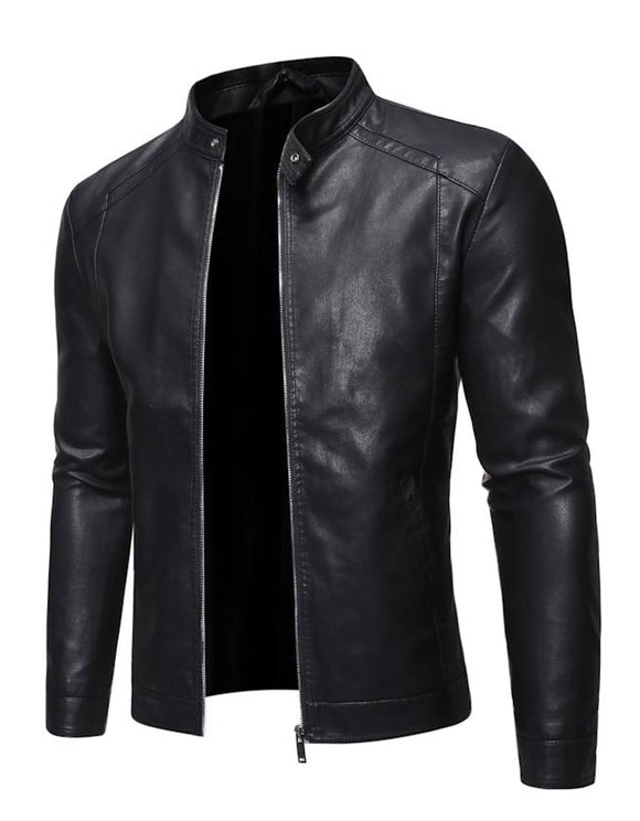 Men Faux Leather Jacket Motorcycle PU Leather Coats