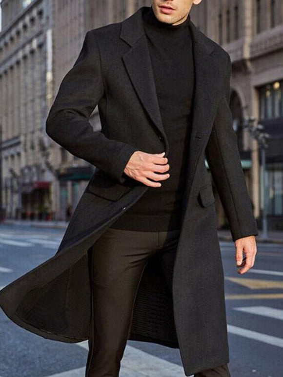 Mid-Length plain notched lapel slim england coat