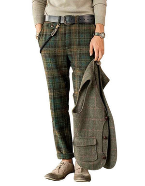 Men's slim Plaid casual pants