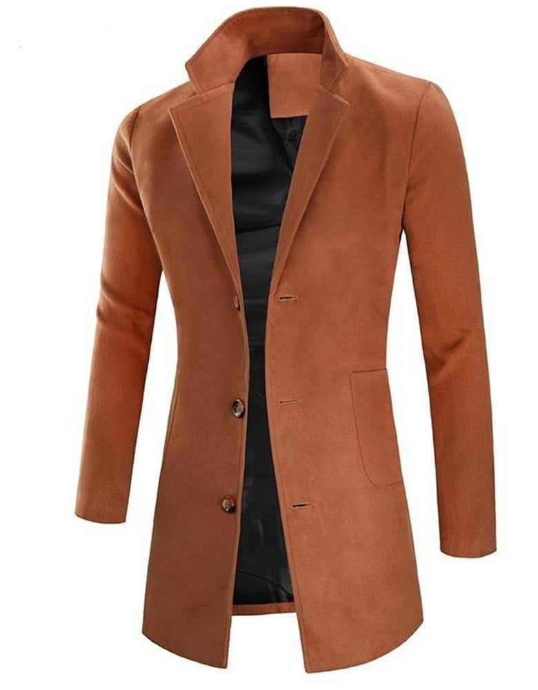 Men's wool blend mid-length coat