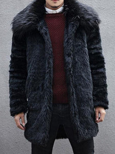 Mid-Length Lapel Plain Straight Winter Coat