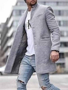 Mid-Length Plain Pocket Winter Fashion Coat