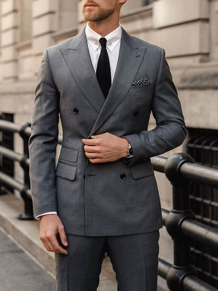 Double-Breasted Slim Button Blazer