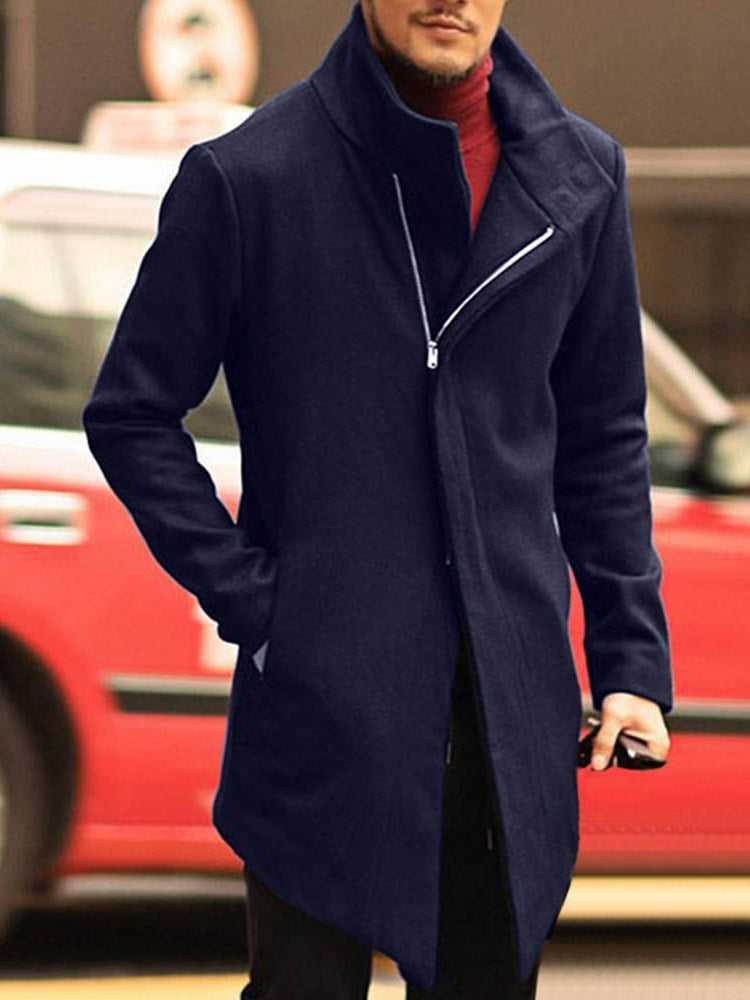Pocket Plain Mid-Length Winter Slim Coat