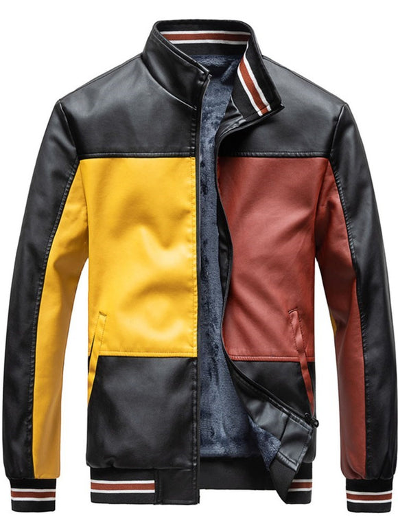 Standard Stand Collar Color Block Zipper Winter Leather Jacket