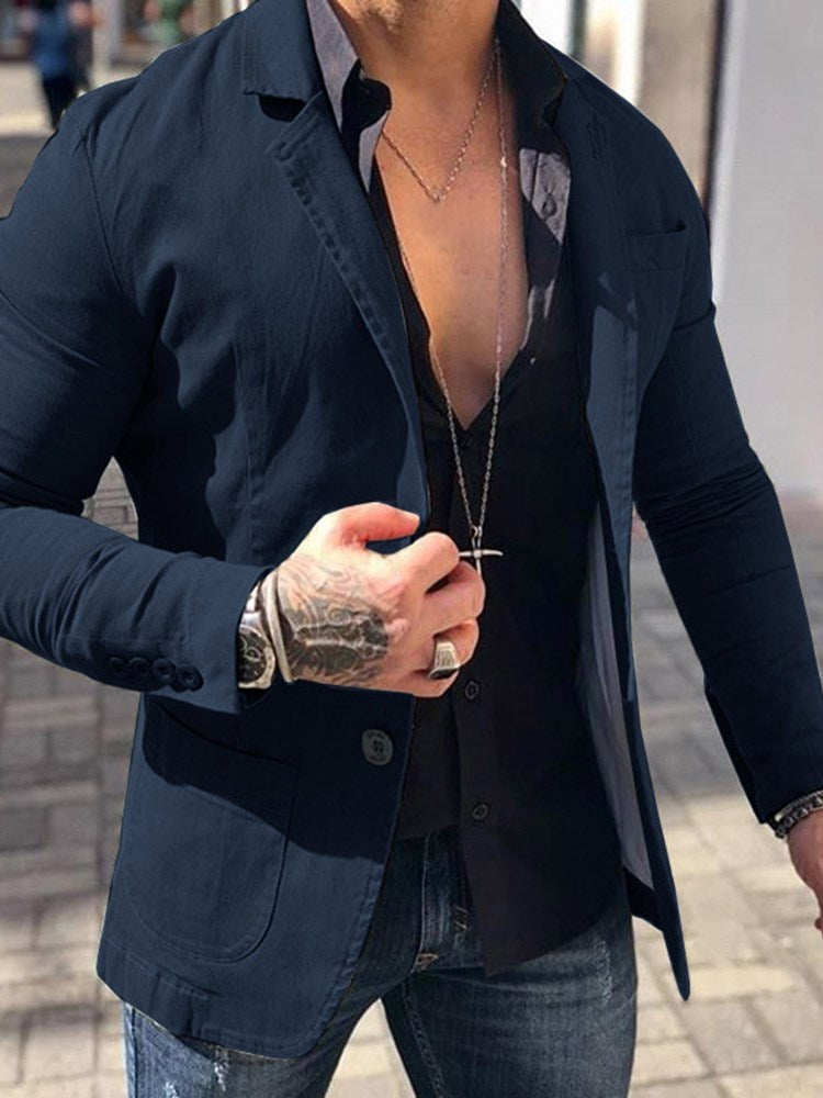 Thin Plain Notched Lapel Single-Breasted Spring Jacket
