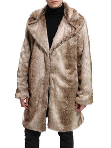 Lapel Plain Long Winter European Coat