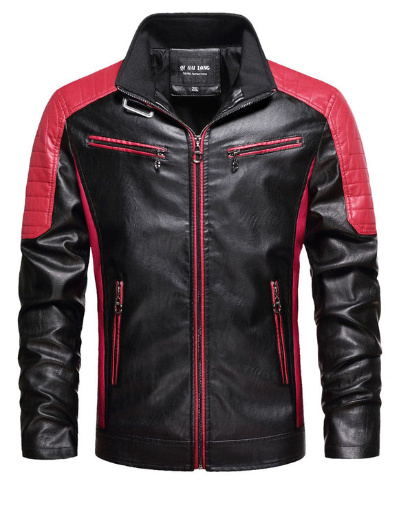 Men's leather jacket collar motorcycle PU leather jacket