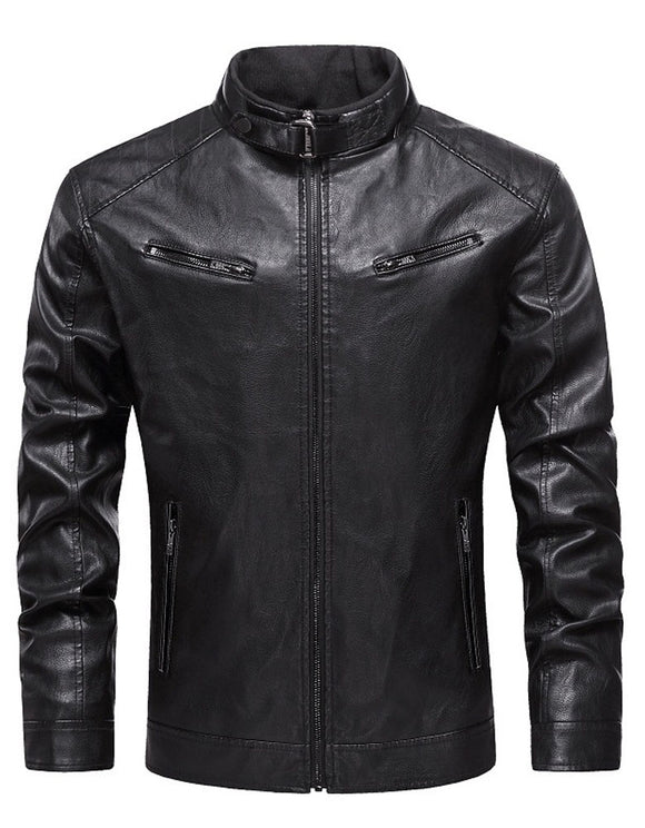 Men's leather new Pu jacket stand collar zipper leather jacket