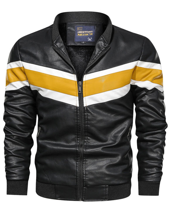 Loose casual men's PU leather clothes