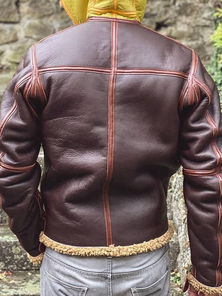 Standard Color Block Hooded Zipper Leather Jacket
