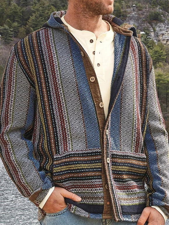 Streifen Knopf Kapuze Casual Single-Breasted Pullover