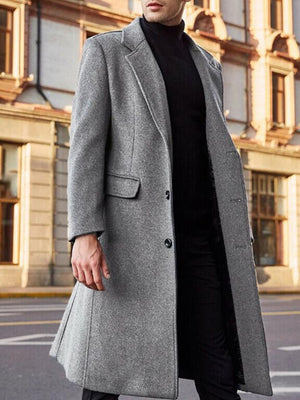 Plain Notched Lapel Mid-Length OL Straight Coat