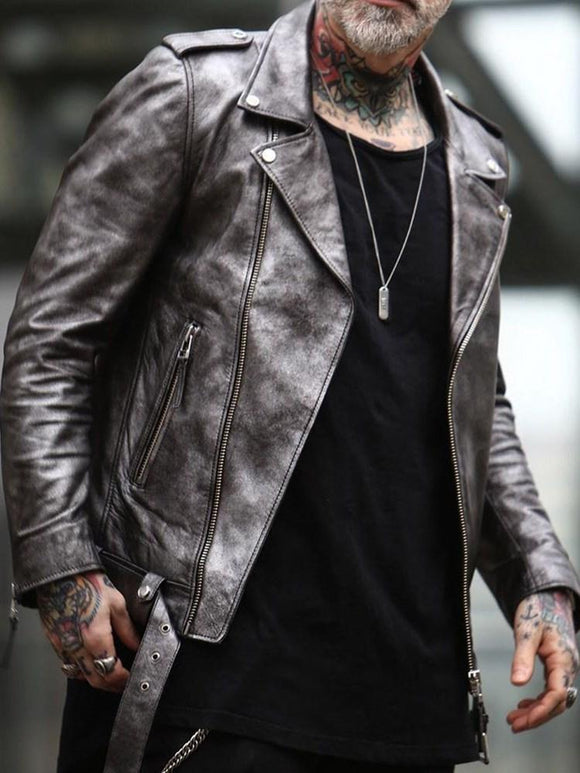 Standard Notched Lapel Leather Jacket